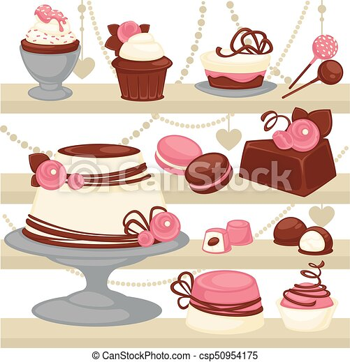 Candy And Dessert Cake Or Ice Cream Cookie Vector Patisserie Menu