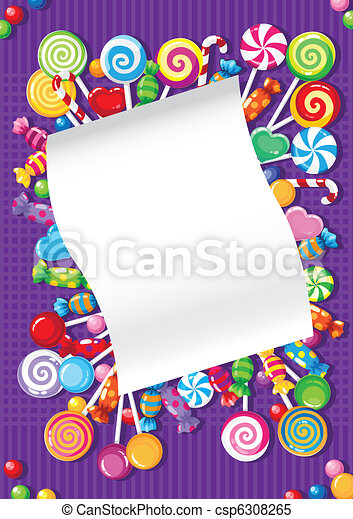 candy and sweets card - csp6308265