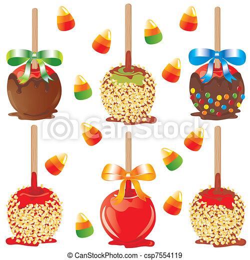Candy Apple Treats Selection Of Carmel Apples For Halloween Or Parties Canstock