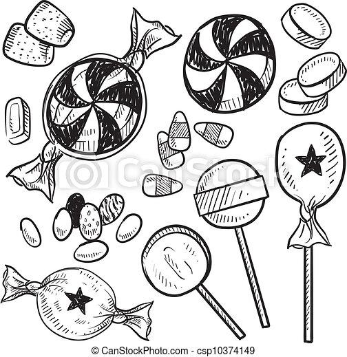 Candy assortment sketch - csp10374149
