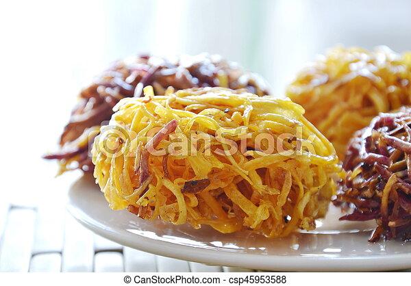 candy bird nest Thai dessert made of fried sweet potato - csp45953588