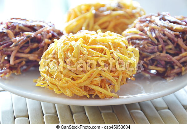 candy bird nest Thai snack made of fried yam - csp45953604
