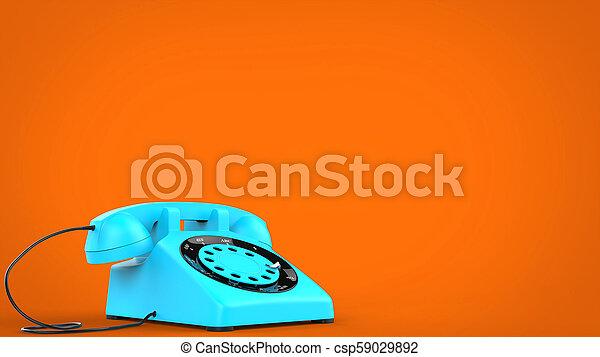 Candy blue vintage telephone - 3D Illustration - csp59029892