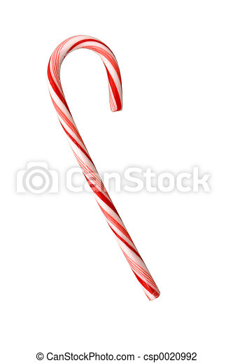 Candy Cane Isolated on White - csp0020992