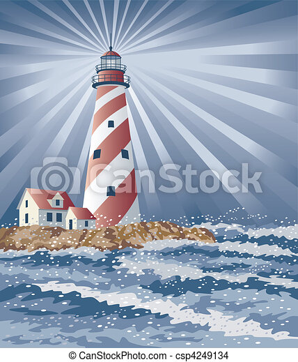 Candy Cane Lighthouse - csp4249134