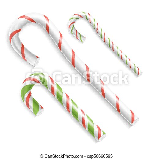 candy cane vector christmas candy cane realistic set isolated top view xmas banner and new year - Christmas Candy Cane