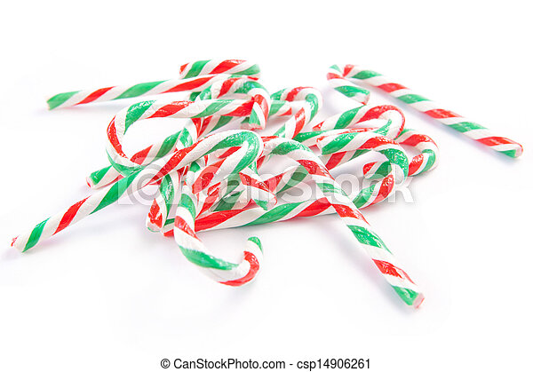 Candy canes on white background - csp14906261