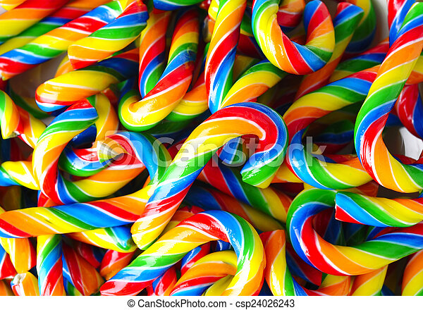 candy canes on white background - csp24026243