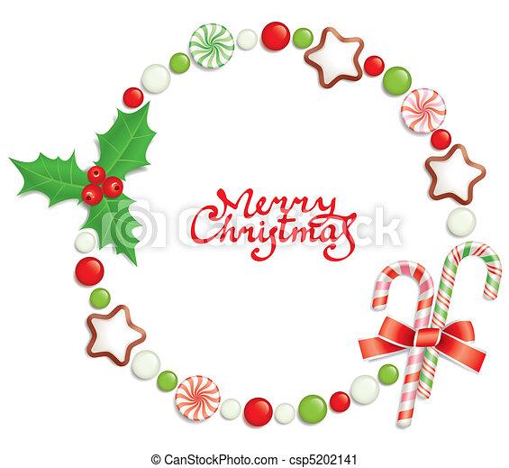 Candy christmas frame - csp5202141