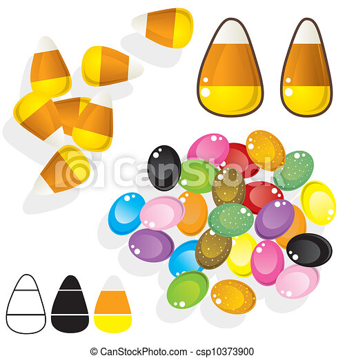 Candy corn and jellybeans vector - csp10373900