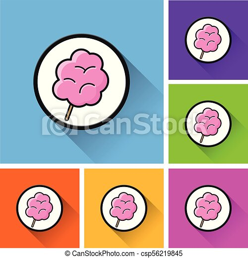 candy floss icons with long shadow - csp56219845