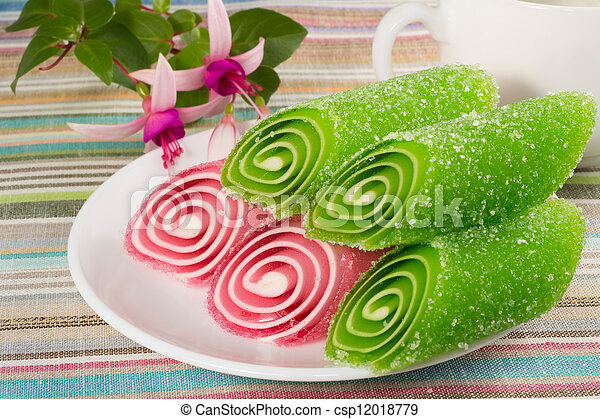 candy fruit on a plate - csp12018779