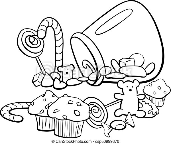 Candy group cartoon coloring book. Black and white cartoon ...