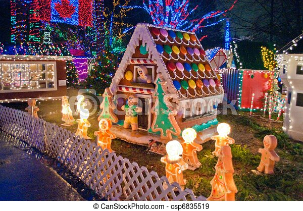 House With Christmas Lights Clipart.Candy House With Christmas Lights