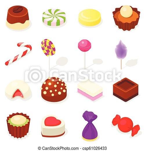 Candy icon set, isometric style - csp61026433
