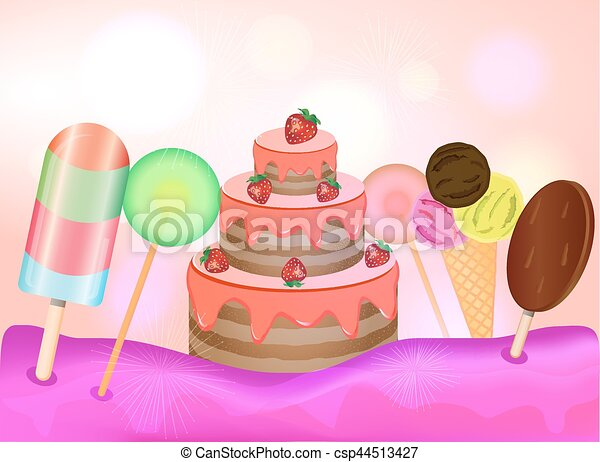 Birthday Cake Images Vektor ~ Candy land background birthday cake lollipops and ice vector
