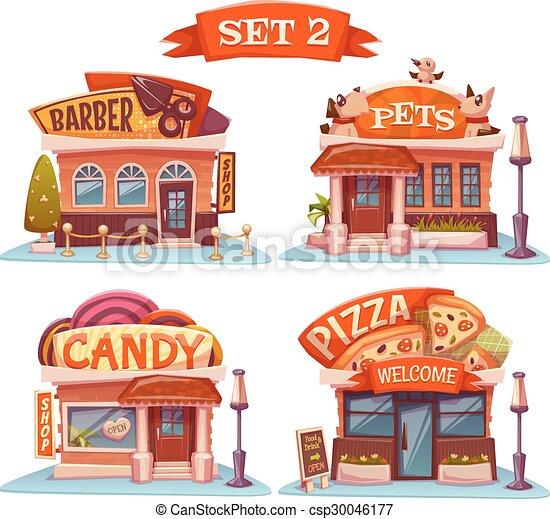 Candy, Pets shop, Pizzeria and barbershop. Vector set. Illustration - csp30046177