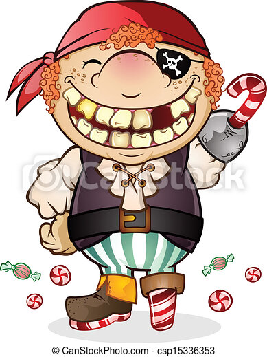 a goofy kid with a huge toothy smile dressed up as a candy pirate for halloween - Goofy Halloween Pictures