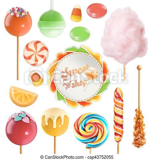 Candy set. Swirl caramel. Cotton candy. Sweet lollipop. 3d vector icon - csp43752055