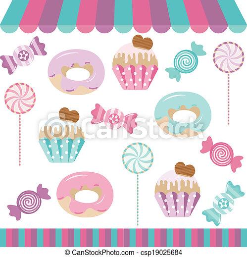 Candy Shop Digital Collage - csp19025684