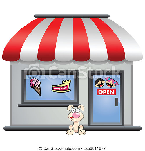candy store with puppy in front - csp6811677