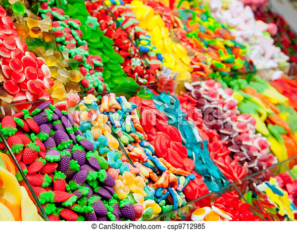 Candy sweets jelly in colorful display - csp9712985