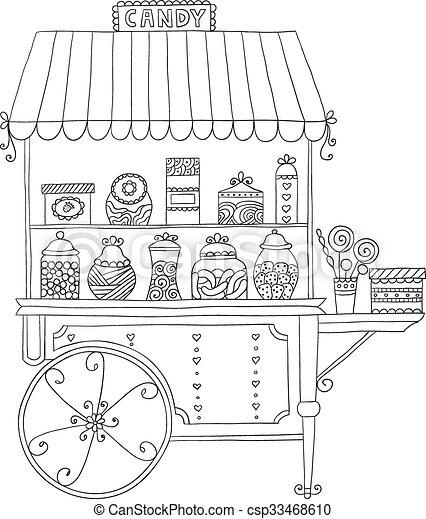 candy., vente, charrette - csp33468610
