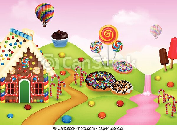 vector illustration of candyland with gingerbread house clipart rh canstockphoto com candyland game clipart candyland characters clipart