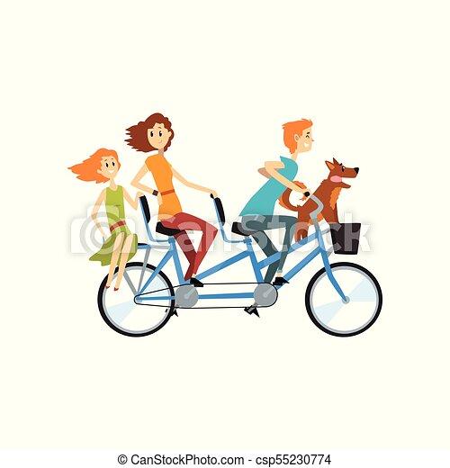 Cane Bambini Figlia Ricreazione Famiglia Bicicletta Tandem Lungo Loro Vettore Genitori Illustrazione Sentiero Per Cavalcate Ciclismo