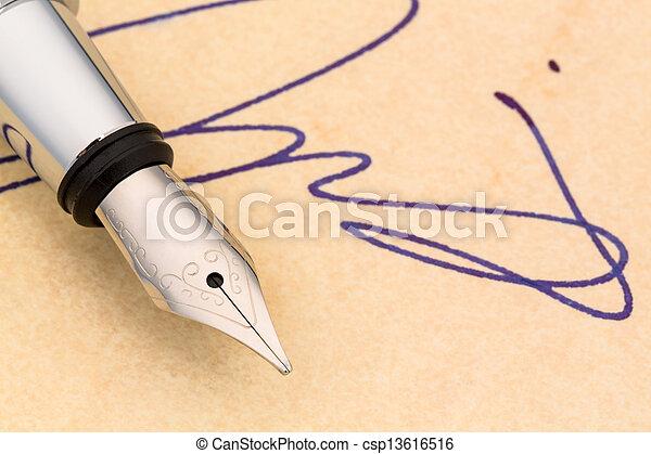 caneta, assinatura - csp13616516