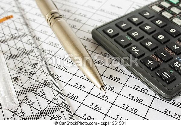 caneta, contas, calculadora - csp11351501