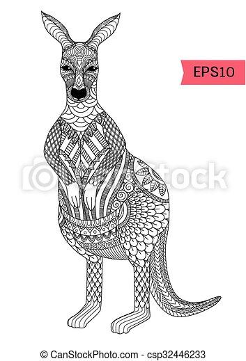 Página de color de canguro - csp32446233