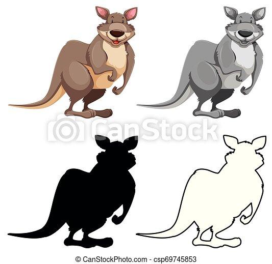 Un conjunto de personaje canguro - csp69745853