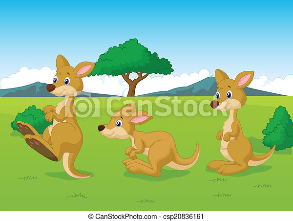 Lindo dibujo animado del canguro - csp20836161