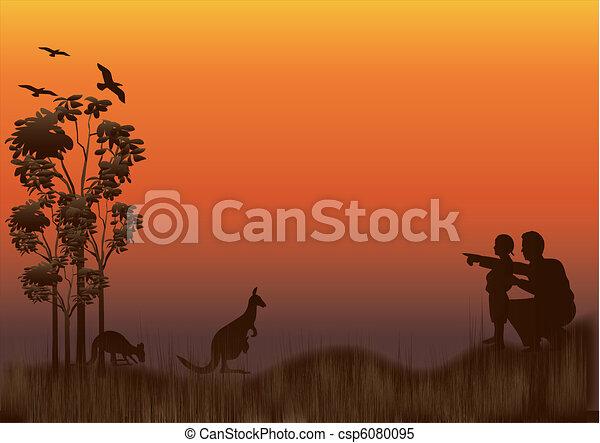 canguru, pôr do sol, família - csp6080095