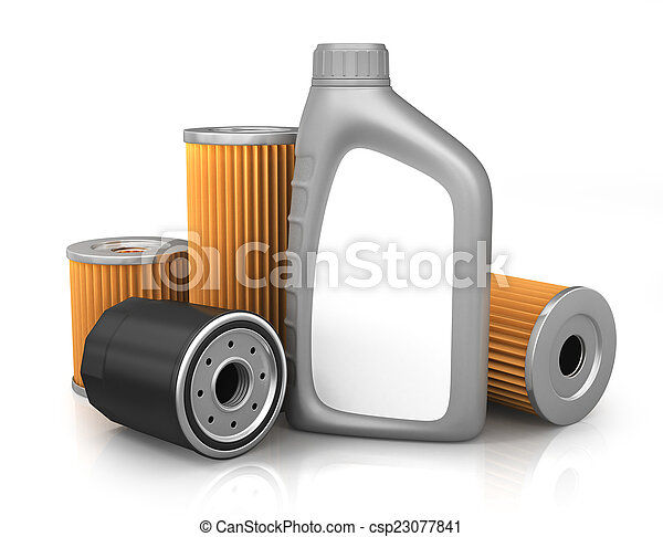 Canister with machine oil isolated  - csp23077841