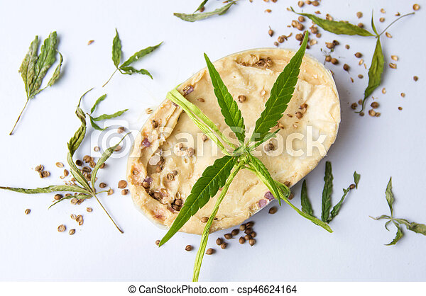 Cannabis herbal natural soap with leaves - csp46624164