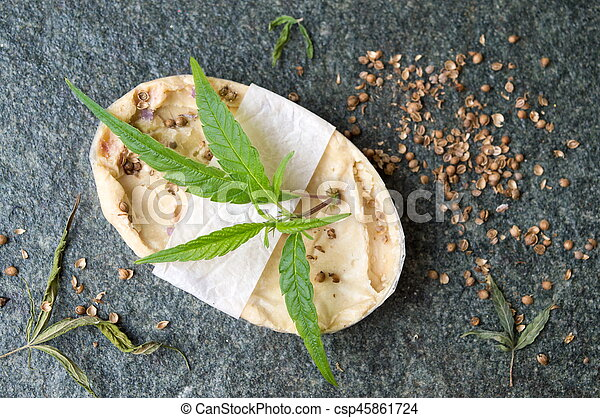 Cannabis herbal natural soap with leaves - csp45861724