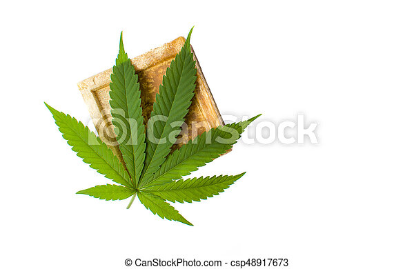 Cannabis herbal soap and leaf isolated - csp48917673