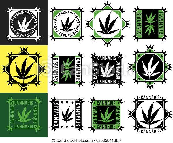 Sellos de hoja de cáñamo de marihuana - csp35841360