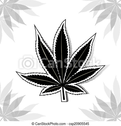 Cannabis leaf noir cannabis vecteur noir illustration leaf - Feuille cannabis dessin ...