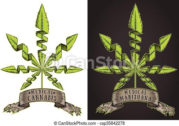 Cannabis Marijuana Hemp Leaf Symbol Cannabis Marijuana Hemp Green