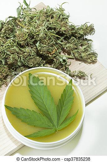 cannabis, ointment, feito, cura, lar - csp37835238
