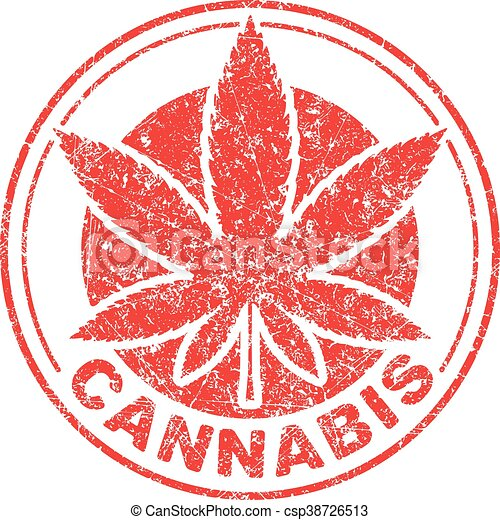 Cannabis or marijuana red leaf grunge design  inscribed in a circle, template for vector rubber stamp. - csp38726513