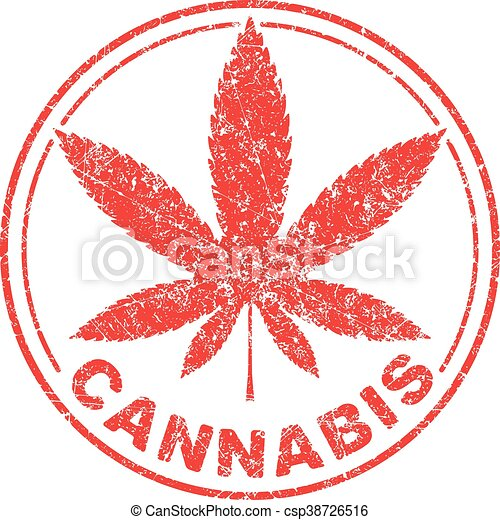 Cannabis or marijuana red leaf grunge design  inscribed in a circle, template for vector rubber stamp. - csp38726516