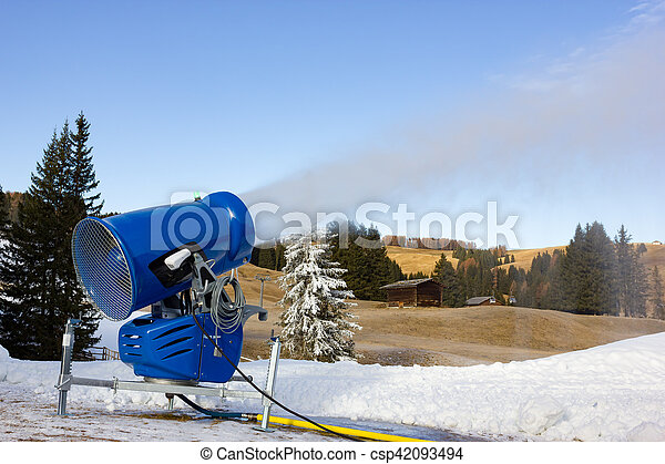 Cannon fires snow on the ski slopes - csp42093494
