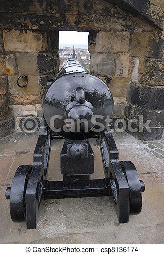 Cannon hidden in the wall - Edinburgh Castle, Scotland - csp8136174