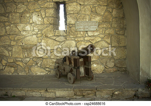 cannon in the courtyard of an old castle - csp24688616