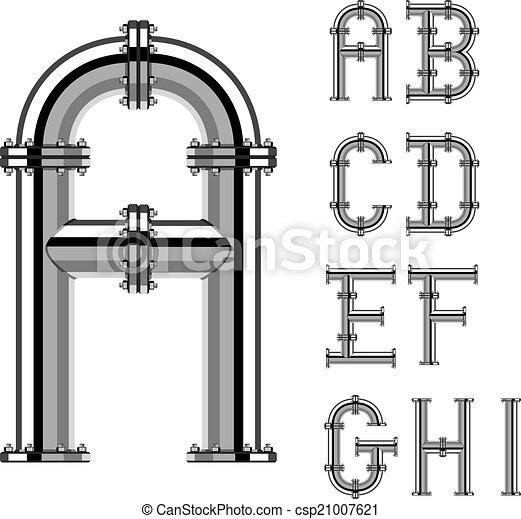 cano, letras, cromo, alfabeto, 1, vetorial, parte - csp21007621