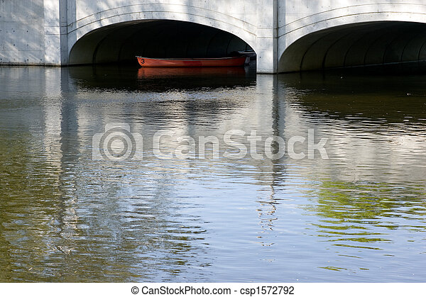 canoe below the bridge - csp1572792